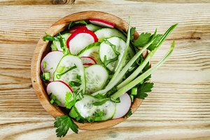 Spring salad with radishes, cucumber