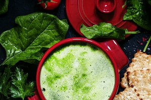 Useful healthy spinach soup in red s