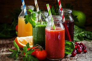 Mix of healthy fruit and vegetable j