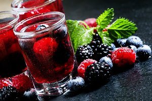 Cold summer berry tea with raspberri