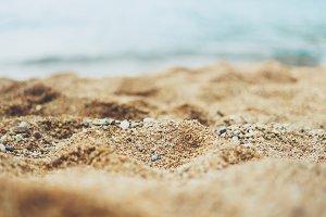 Solar flare on the sea sand