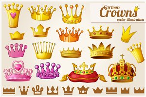 Set of royal golden crowns
