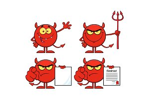 Red Devil Cartoon Emoji Collection