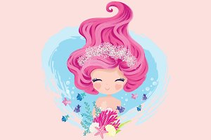 Cute girl-flowers with mermaid art