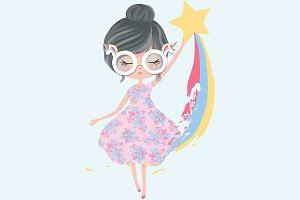 Girl with rainbow print-Girl vector