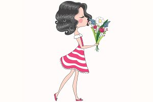 Cute girl-girl with flowers vector