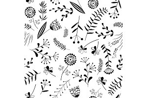 Seamless pattern with wild herb