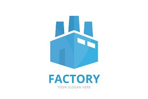 Vector factory logo combination.