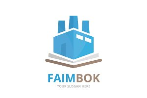 Vector book and factory logo