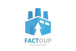Vector factory and arrow up logo