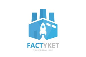 Vector factory and rocket logo