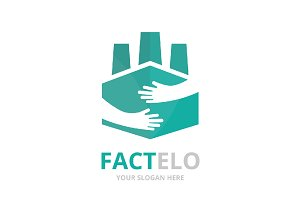 Vector factory and hands logo