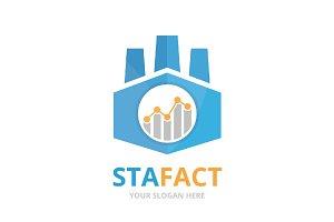 Vector graph and factory logo