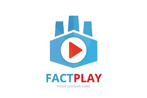 Vector button play and factory logo