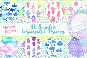Seamless Watercolor Patterns Nursery
