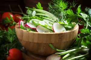 Spring salad with fresh cucumber, ra