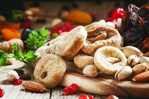 Delicious dried figs and dried fruit