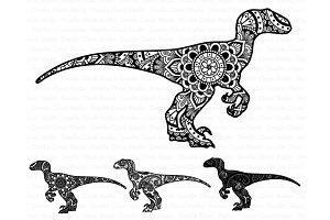 Mandala Dinosaur SVG, Raptor Mandala