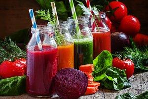 Freshly squeezed vegetable juice in