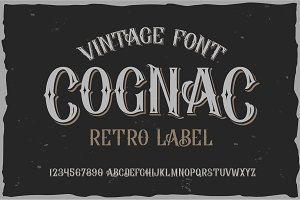 Vector vintage label font. Cognac