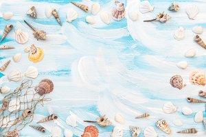 Sea shells fishing net background