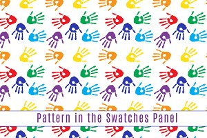 Seamless pattern with hand prints