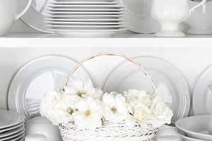 White Cupboard with White Roses