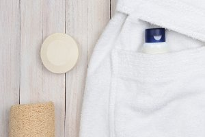 Flat Lay of a Terry Cloth Bathrobe a