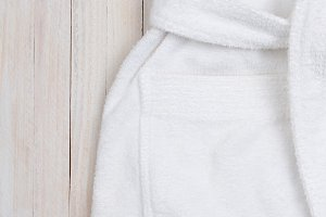 White Terry Cloth Bathrobe with Copy