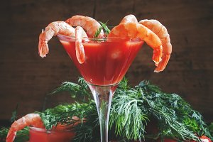 Peeled shrimp with tomato sauce in a