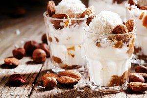 Dessert with vanilla ice cream, nut