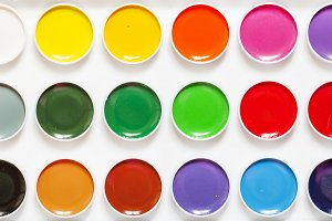 Palette of paints for drawing, top v