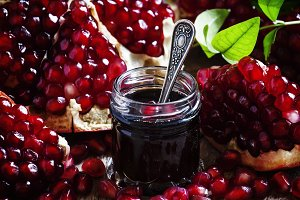 Homemade pomegranate jam in a glass