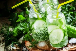 Refreshing cold drink of cucumber an