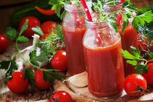 Spicy tomato juice in small bottles