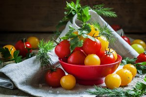 Mix red and yellow cherry tomatoes,