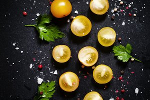 Food background, yellow cherry tomat