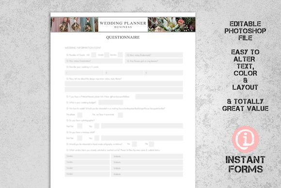 wedding planner forms stationery templates creative market