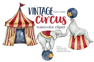 Vintage Circus Watercolor Clipart