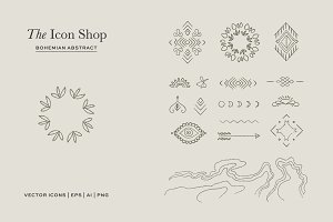 Hand Drawn Bohemian Abstract Icons