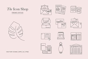 Hand Drawn Trendy Office Icons