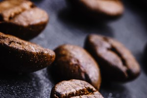 Coffee beans, close-up, black backgr