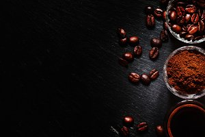 Food background: coffee beans, groun