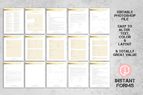 Wedding Planner Contract Forms Stationery Templates Creative Market