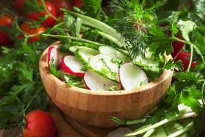Vegetarian salad with radishes, cucu
