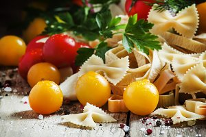 Italian food: Assorted dry pasta, he