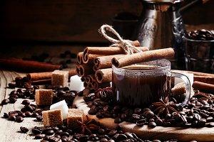 Espresso, coffee maker, spilled coff