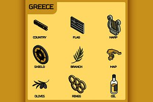 Greece color outline isometric icons