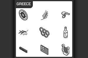 Greece outline isometric icons