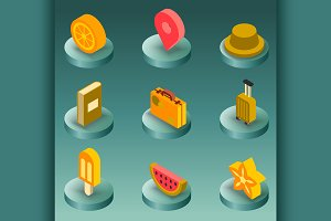 Holidays color isometric icons